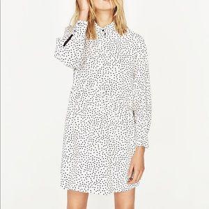 NWT Zara White Polka Dot Oversized Shirt Dress